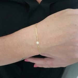 14K Real Gold Sun Shaped Decorated with Zirconia Stones Cute Dainty Delicate Charm, Initial and Trendy Bracelet The best way to say You are my sun shine for women jewelry girlfriend wife mom