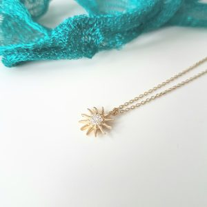 14K Gold Sun Shaped Decorated with Zirconia Stones Tiny Dainty Delicate Charm Trendy Pendant Necklace The best way to say You are my sun shine for women jewelry girlfriend mom