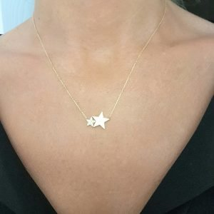 14K Gold Two Stars Design Dainty Delicate Cute Initial Charm Trendy Pendant Necklace (Choice of Gold Colors and Length) for women jewelry girlfriend mom birthday gift