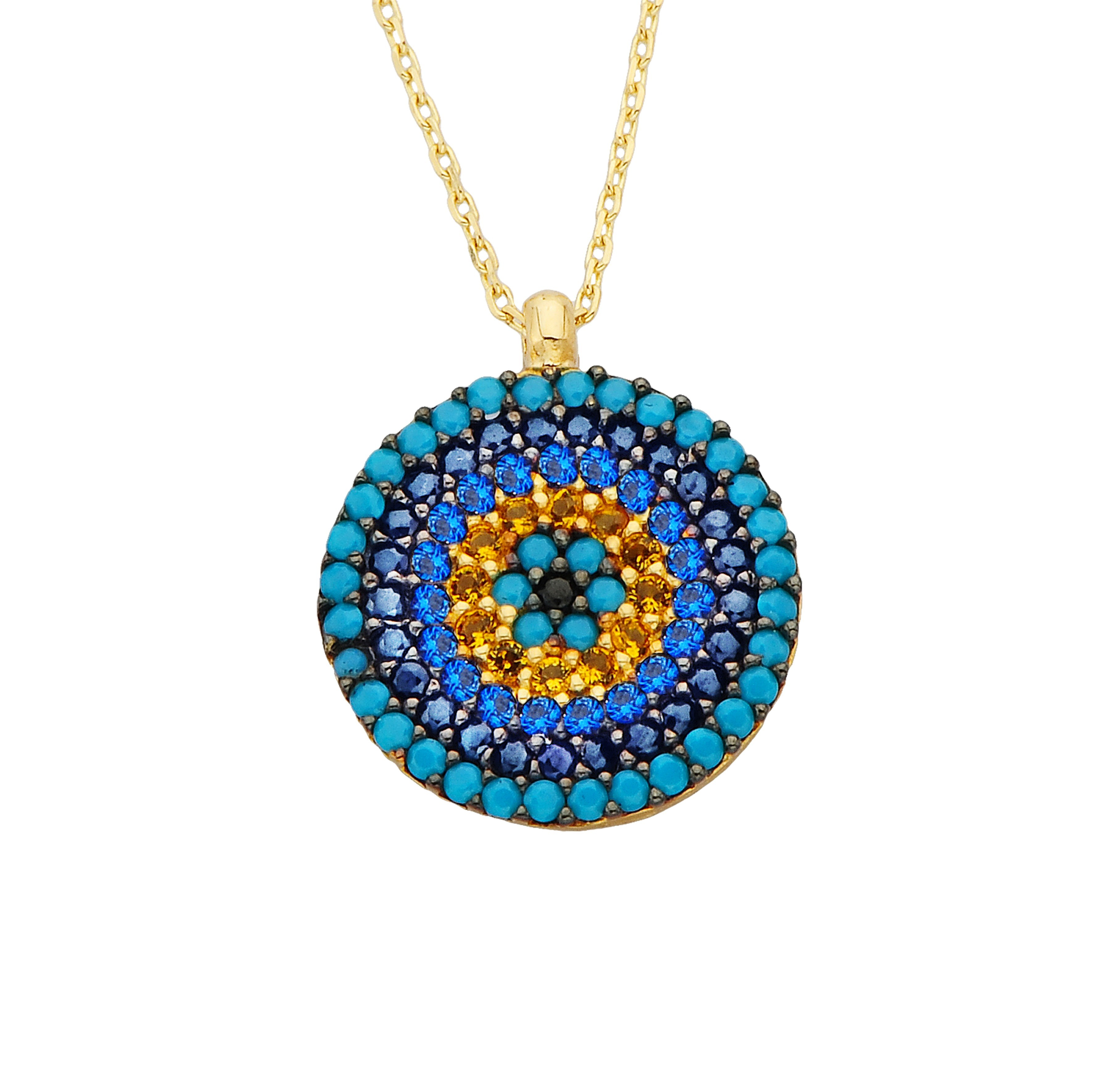 14K Real Gold Round Circle Evil Eye Design with Zirconia Stones Charm Dainty Elegant Delicate Trendy Pendant Necklace best birthday gift for women jewelry girlfriend mom turquoise dainty turkish