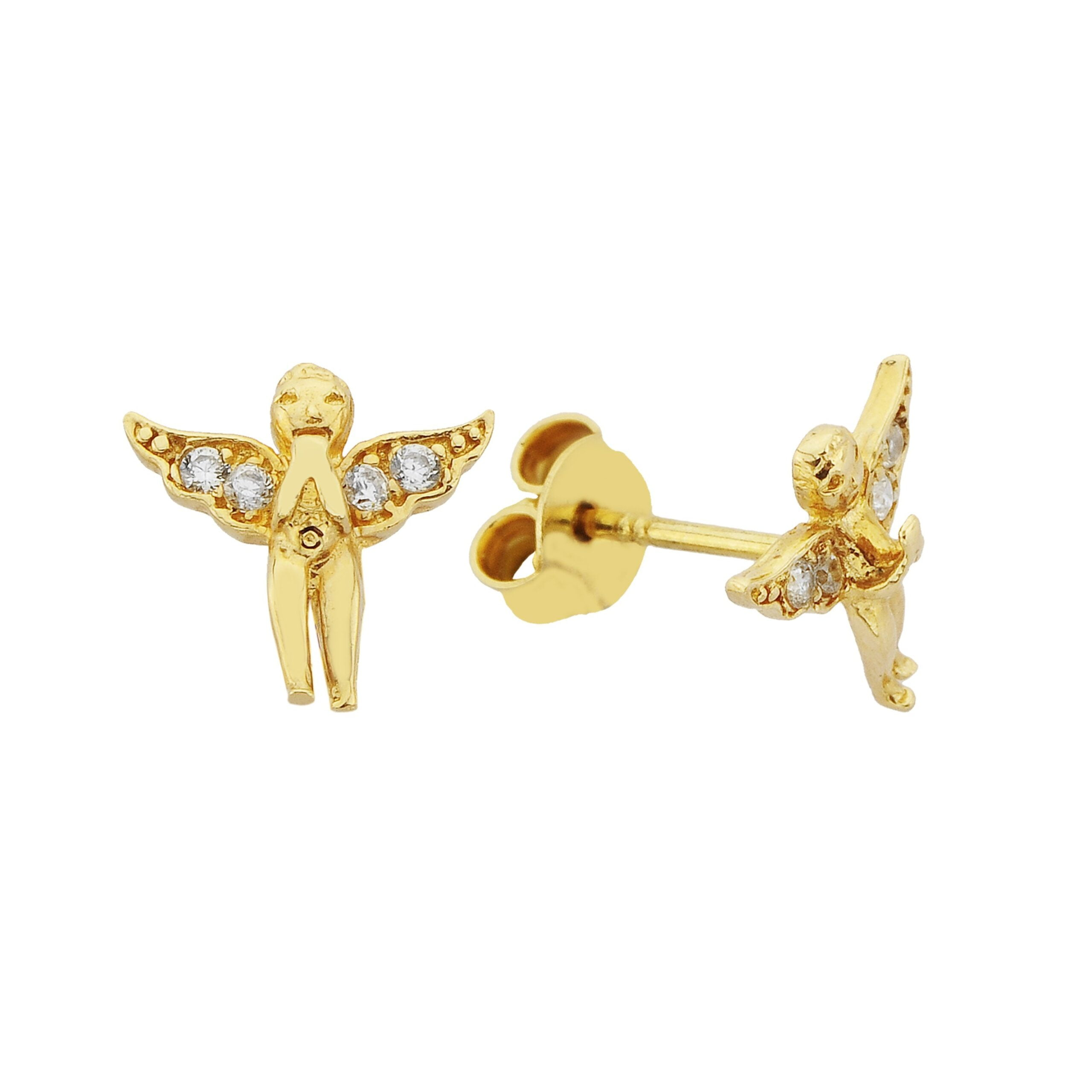 14K Real Solid Gold Angel Stud Earrings for Women guardian jewelry handmade birthday gift christmas xmas mother's day tiny minimalist