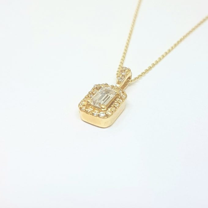 14K Real Gold Baguette Pendant Necklace with Halo Round Stones Cute Dainty Charm Delicate Trendy Best Birthday Gift for Women Jewelry Girlfriend Mother