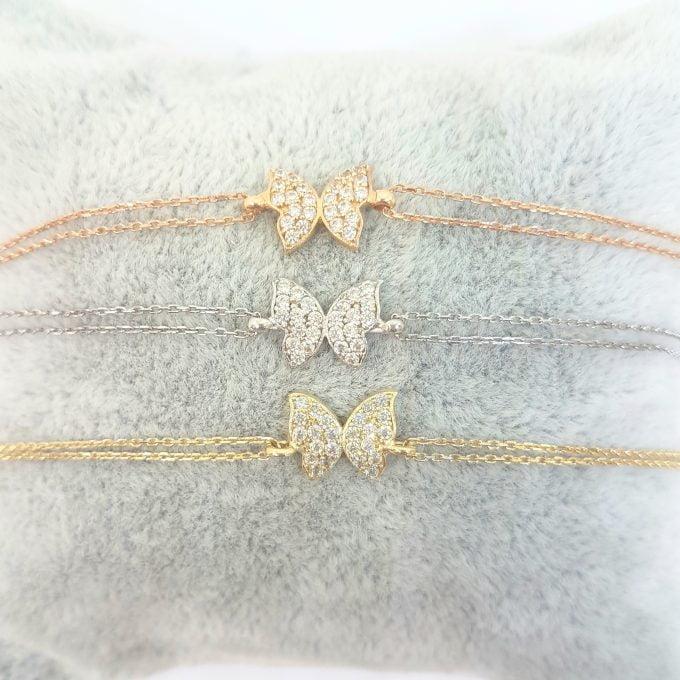 Butterfly Bracelet for women White rose yellow gold