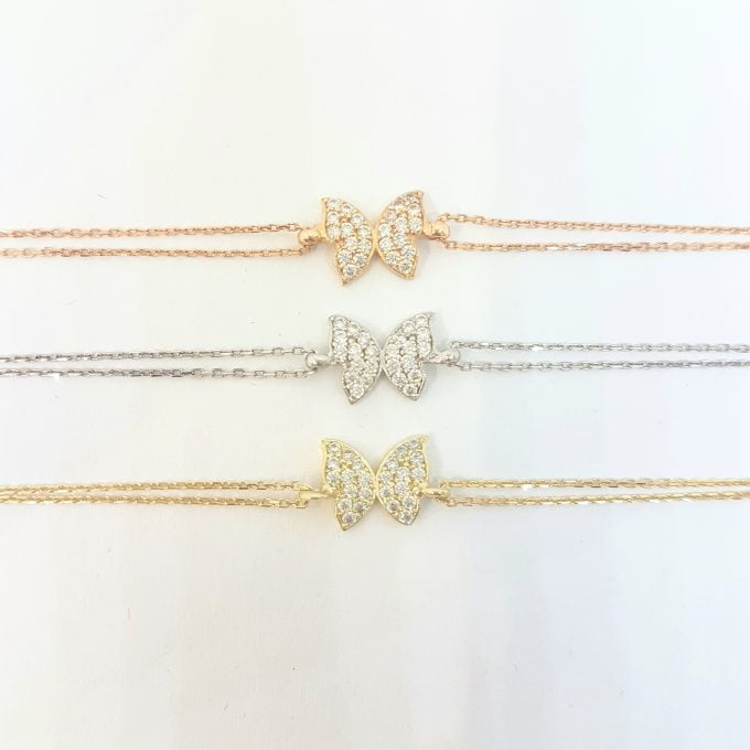 Butterfly Bracelet for women White rose yellow real solid gold Birthday Mother's Day giftgold