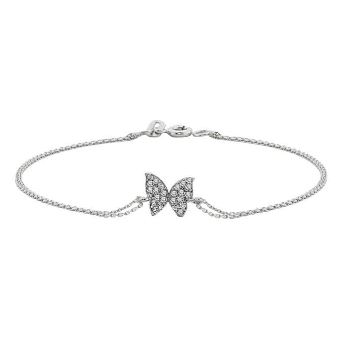 14K Real Solid white Gold Butterfly Shape Design with White Zirconia Stones Cute Dainty Delicate Trendy Bracelet best gift for Women Jewelry yourself, birthday christmas handmade jewelry white xmas