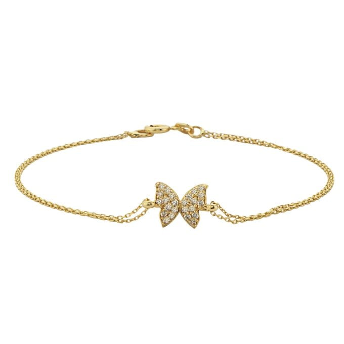 14K Real Solid Gold Butterfly Shape Design with White Zirconia Stones Cute Dainty Delicate Trendy Bracelet best gift for Women Jewelry yourself, birthday christmas handmade jewelry white xmas
