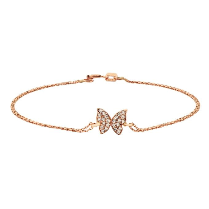 14K Real Solid rose Gold Butterfly Shape Design with White Zirconia Stones Cute Dainty Delicate Trendy Bracelet best gift for Women Jewelry yourself, birthday christmas handmade jewelry white xmas