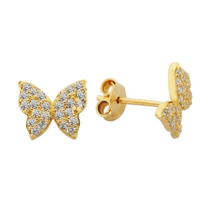 14K Real Solid Gold Butterfly Stud Earrings for Women handmade jewelry christmas gift cz tiny dainty charm mother girl dangle drop birthday minimalist latika jewelry