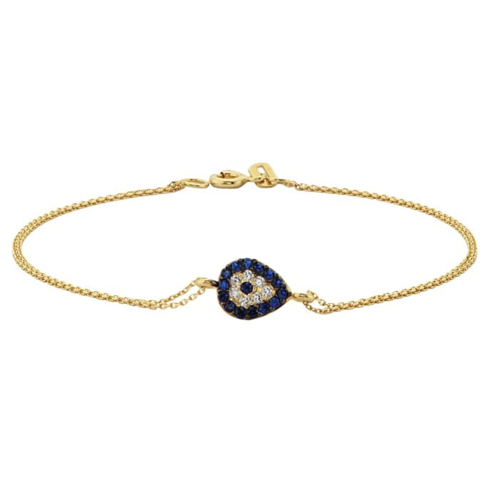14K Real Solid Gold Evil Eye Teardrop Bracelet with Navy Blue and White CZ for Women Good Luck jewelry nazar protection cubic zirconia birthday gift christmas mother luck lucky protection nazar