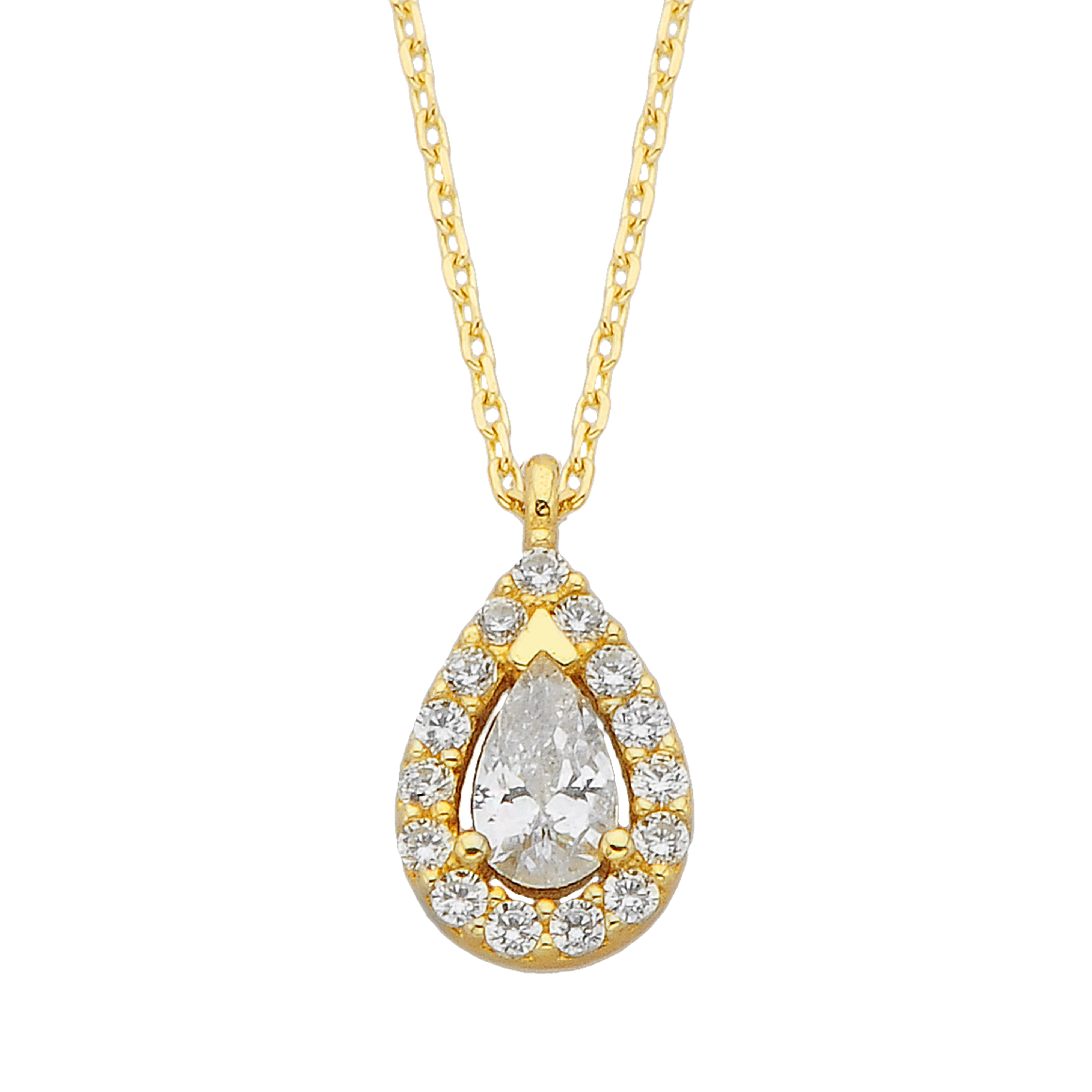 14K Real Solid Gold Teardrop Halo Pendant Necklace for Women Birthday Gift Christmas Mother's Day