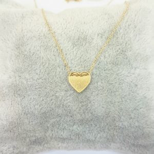 14K Real Solid Gold Heart Design Cute Tiny Dainty Pendant Necklace Best Birthday Gift for Women Girlfriend Girl
