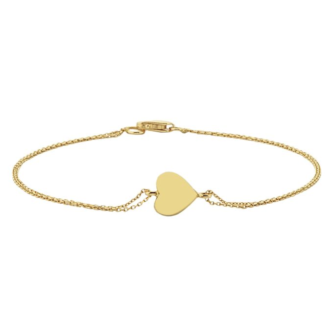 14K Real Solid Gold Heart Shape Design Charm Cute Dainty Elegant Delicate Trendy Bracelet best birthday gift for Women Jewelry yourself Girls Mother Mom love girlfriend handmade