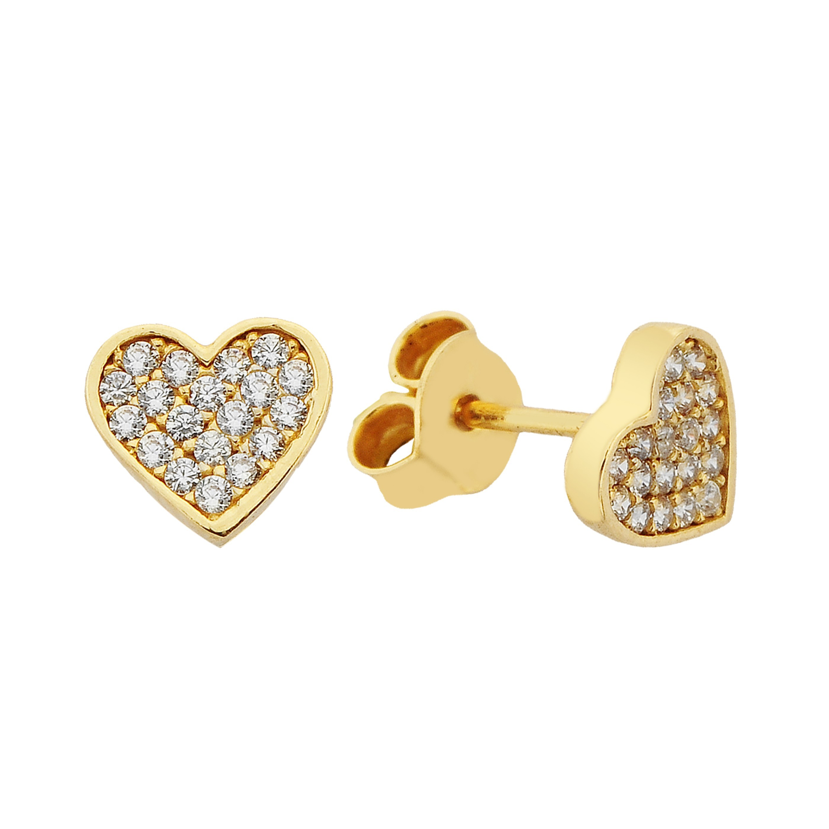 14K Real Solid Gold Heart Stud Earrings Decorated with Zirconia Stones for Women Birthday christmas xmas mother's day gift small tiny minimalist handmade jewelry