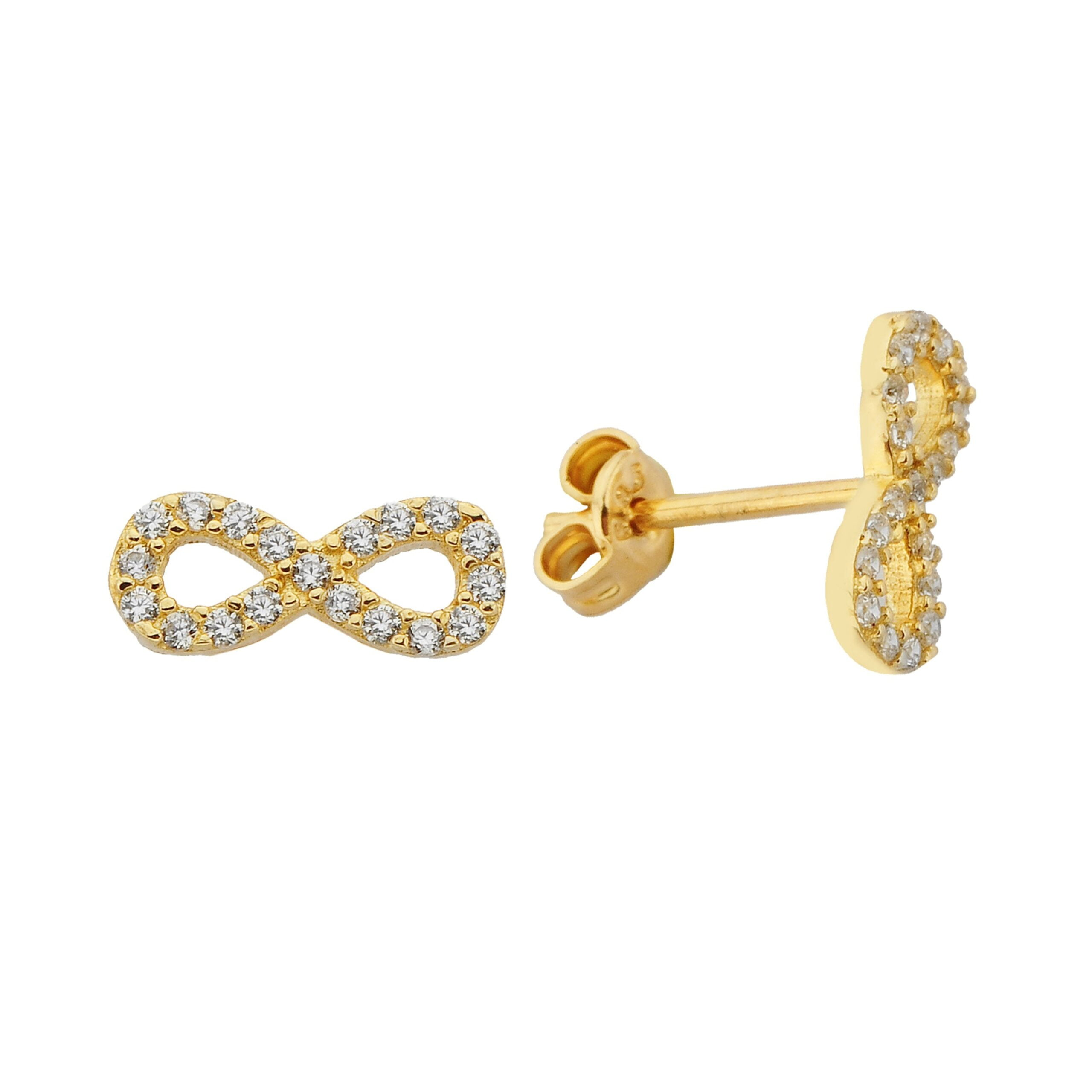 14K Real Solid Gold Infinity Stud Earrings for Women | Best Birthday Gift Christmas Xmas Mother's Day Handmade jewelry diamond
