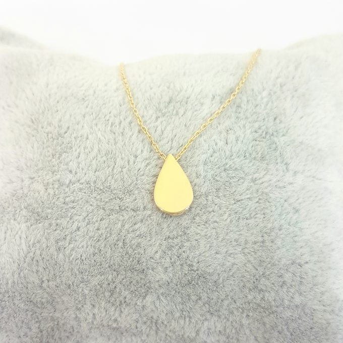 14K Real Solid Gold Tear Drop Shaped Charm Tiny Cute Dainty Delicate Trendy Pendant Necklace