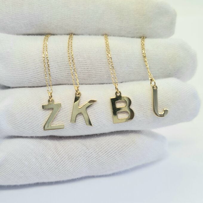 14K Real Solid Gold Initial Necklace , Personalized Gifts , Initial Pendant , Custom Initial Necklace Gold , Gold Letter Necklace for Women