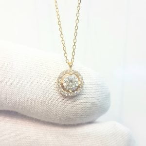 14K Real Solid Gold Round Circle with Halo Sun Shaped Decorated with Zirconia Stones Charm Cute Dainty Elegant Delicate Tiny Trendy Pendant Necklace Best Birthday Gift for Women Jewelry Girlfriend