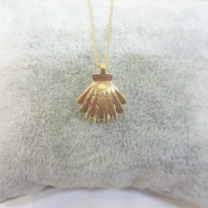 14K Real Solid Gold Sea Shell Design Decoreted with Pearl Charm Dainty Pendant Necklace for women