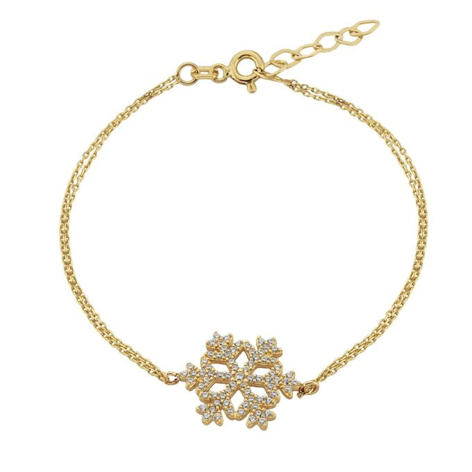 14K Real Solid Gold Snowflake Cute Elegant Dainty Charm Delicate Trendy Bracelet Best Birthday Gift for Women Jewelry winter spring fall love art christmas mother her girlfriend