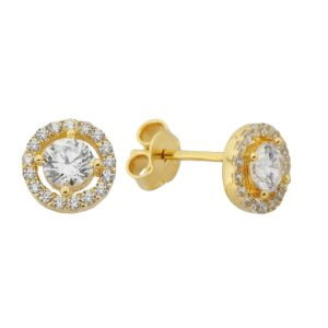 14K Real Solid Gold Solitaire Halo Stud Earrings for Women handmade diamond jewelry birthday gift chirstmas xmas