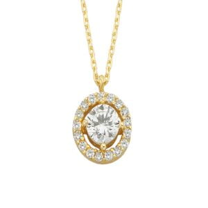 14K Real Solid Gold Solitaire Necklace , Cubic Zirconia Halo Necklaces for Women, CZ Round Halo Necklace for Women
