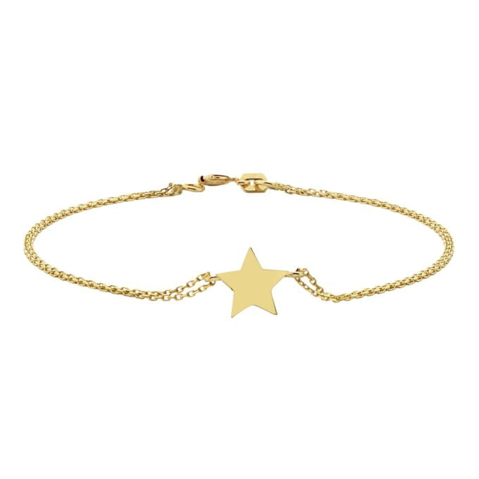 14K Real Solid Gold Star Design Bracelet Charm Cute Dainty Delicate Best Birthday Gift for Women Jewelry Mother zodiac celestial north her love girlfriend