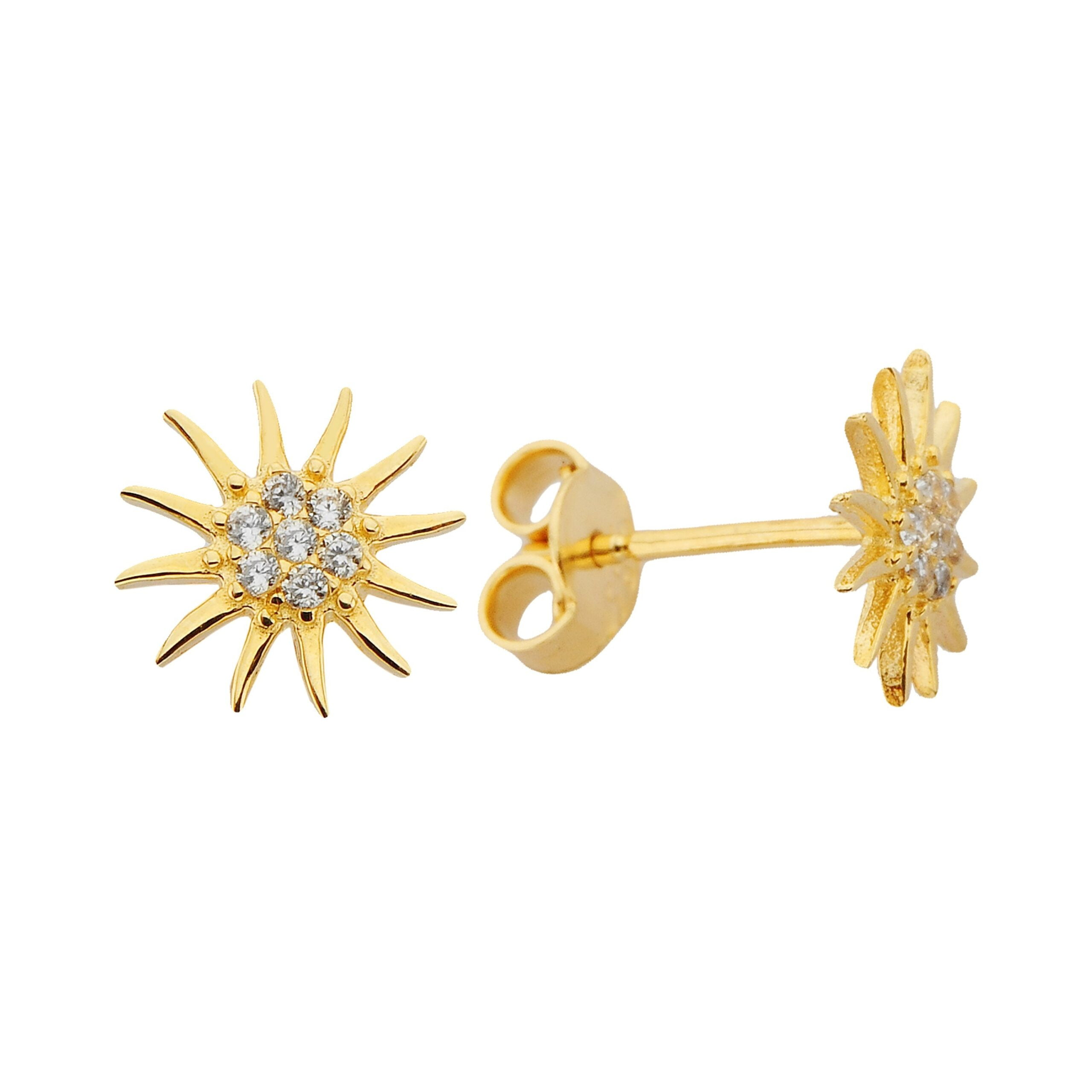 14K Real Solid Gold Sun Stud Earrings for Women Christmas Birthday gift Xmas Mother's Day Zodiac Moon Astrology her girl