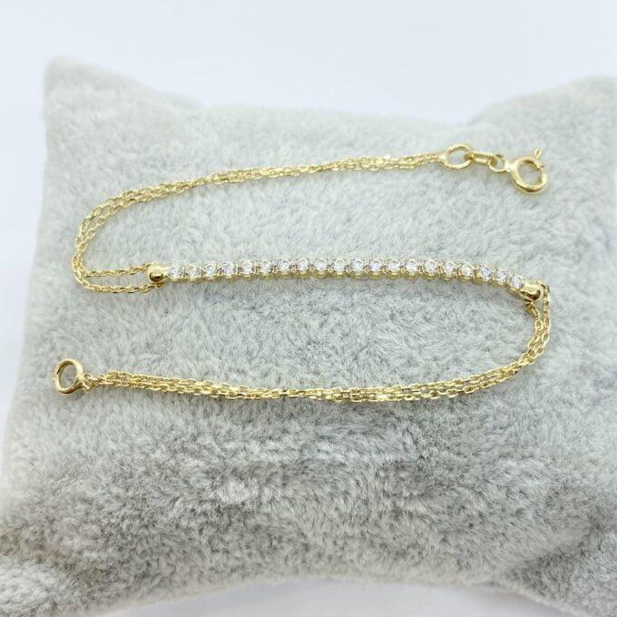 14K Real Solid Gold Tennis Bracelet for Women   CZ Tennis Bracelet birthday gift
