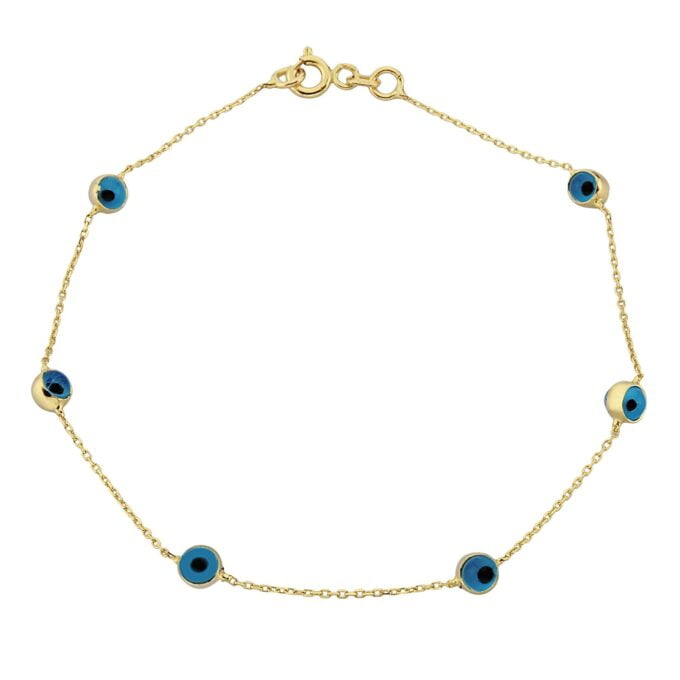 14K Real Solid Gold Two Sided Evil Eye Design Cute Tiny Dainty Delicate Elegant Trendy Bracelet best birthday gift for Women Jewelry yourself mom girls her christmas xmas turkish greek blue dainty