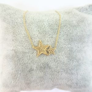 14K Real Solid Gold Two Stars Design Dainty Cute Charm Trendy Pendant Necklace for Women birthday gift dainty necklace