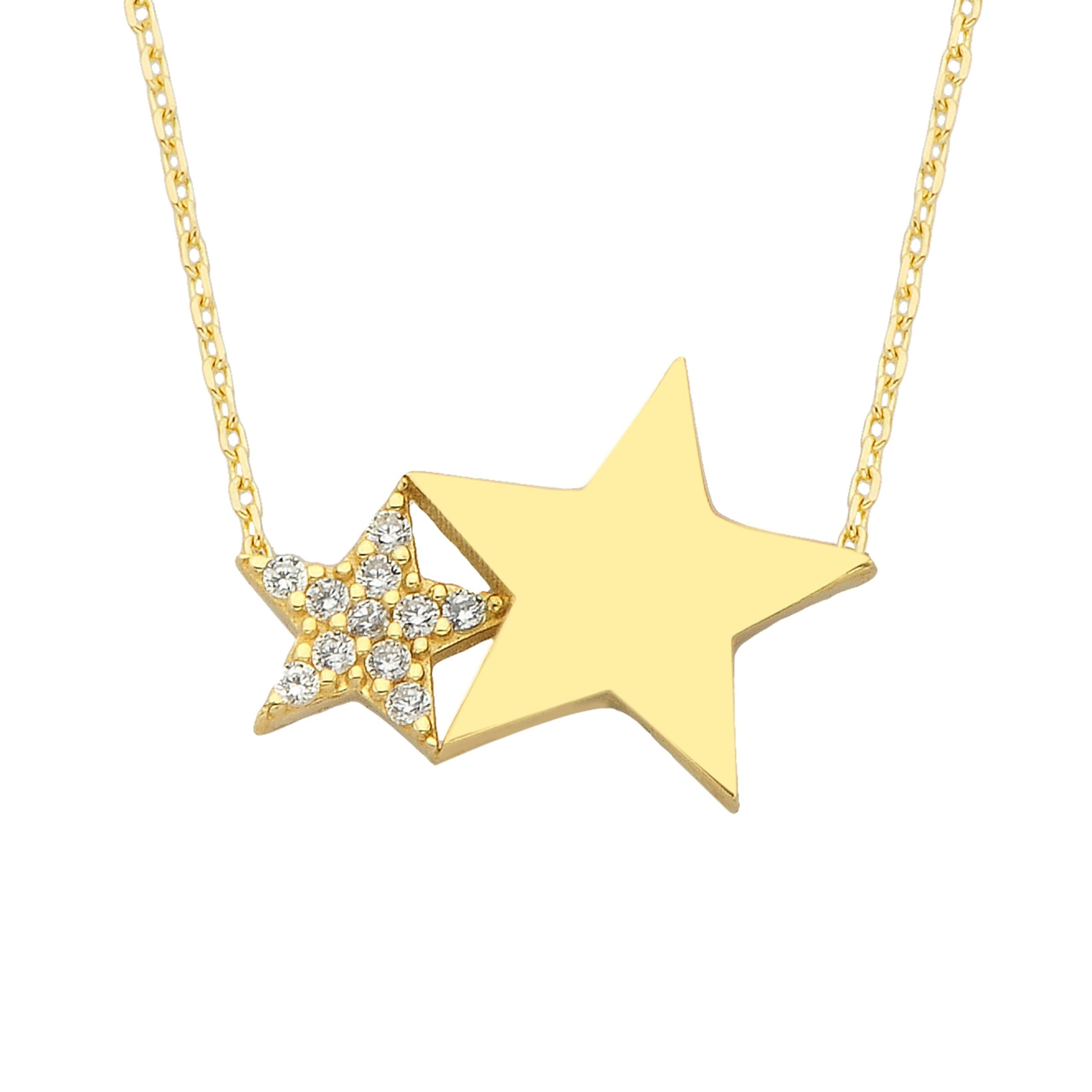 14K Real Solid Gold Two Stars Necklace | Double Star Pendant for Women
