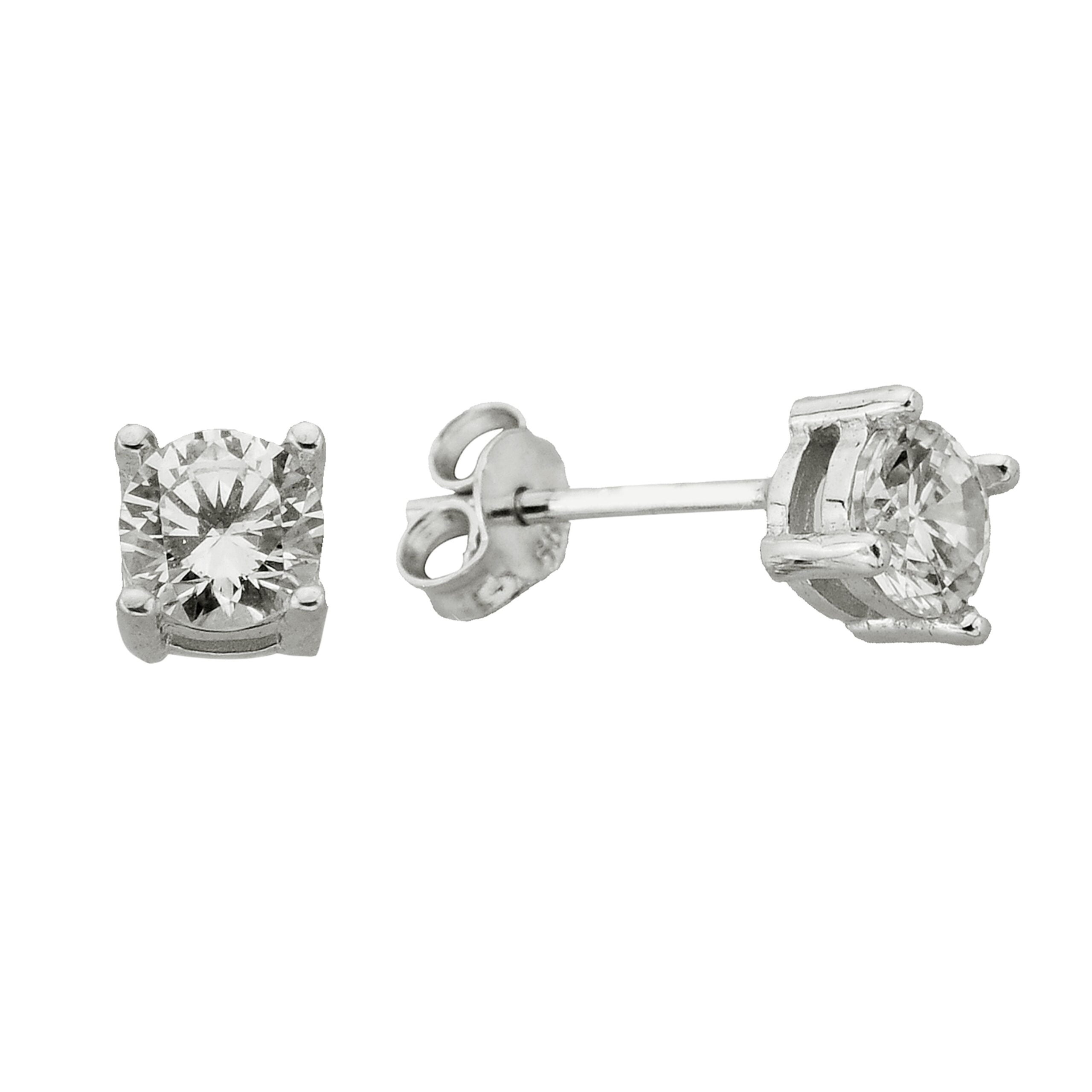 14K Real Solid White Gold Solitaire Stud Earrings for Women , CZ Solitaire Earrings mother's day birthday christmas gift handmade jewelry diamond cut