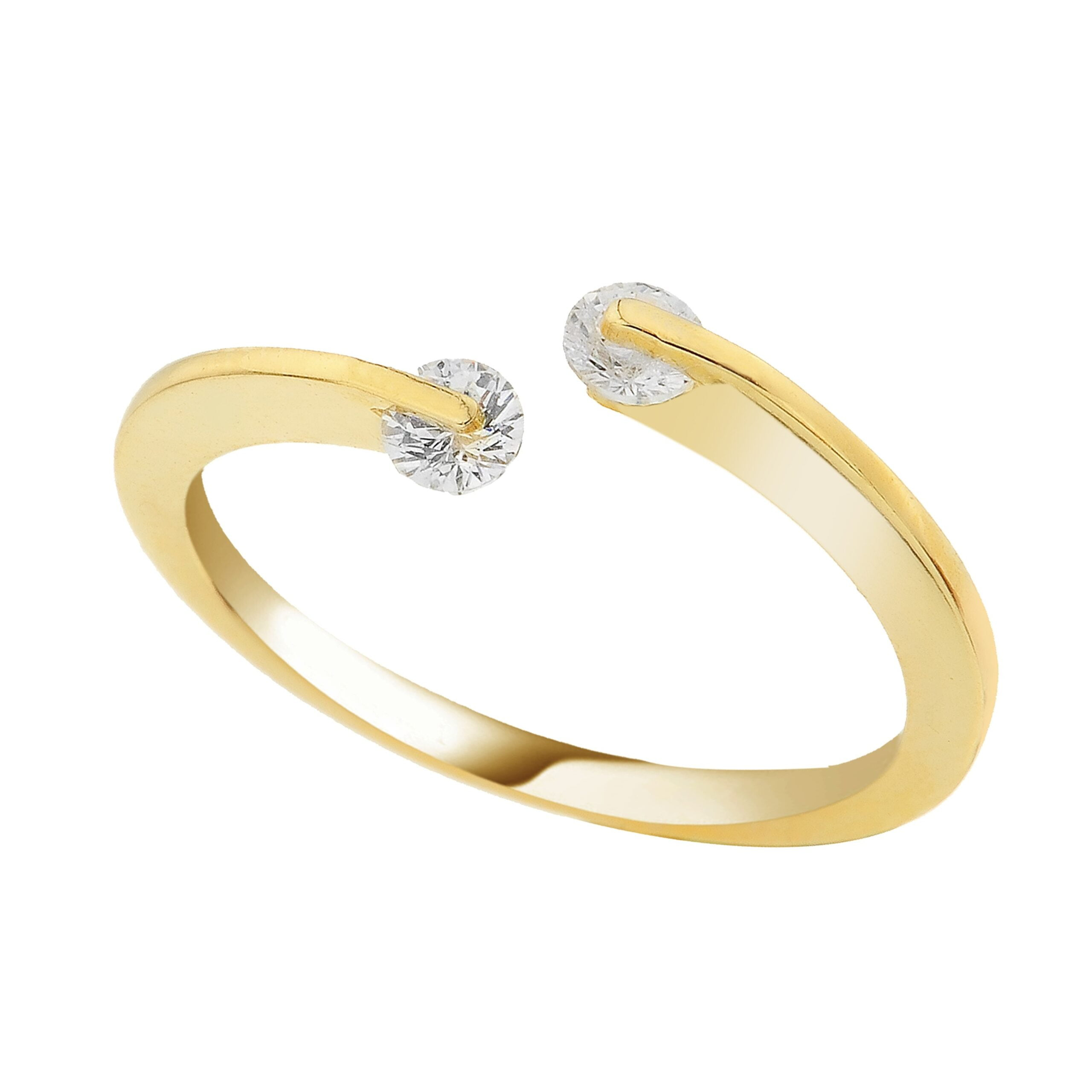 14K Real Solid Yellow Gold Open Cuff Ring with White Zirconia Stones for Women Xmas Christmas Birthday Gift Mother handmade jewelry