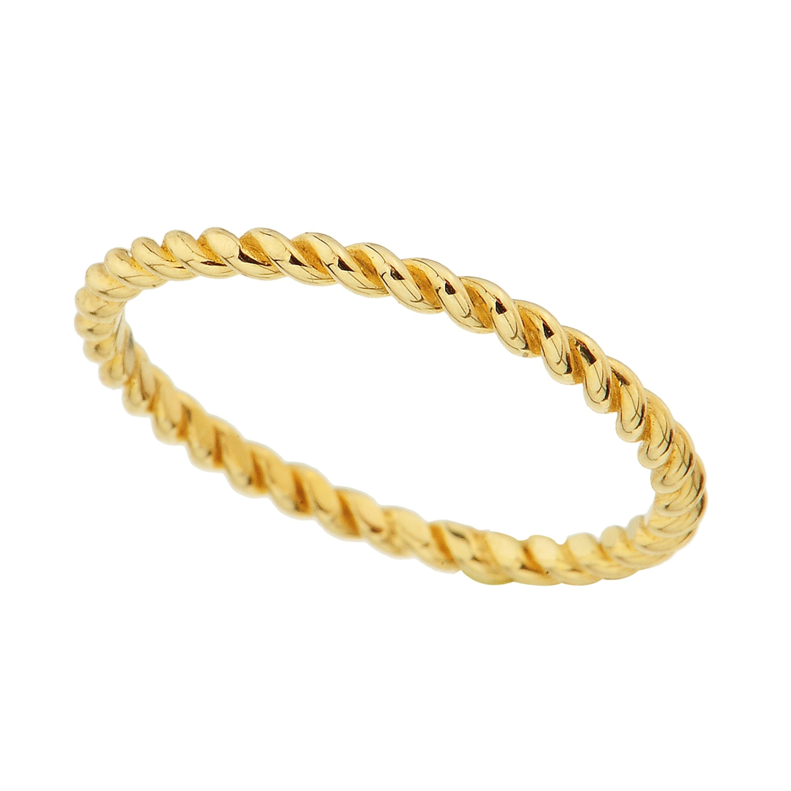 14K Real Solid Yellow Gold Rope Ring for Women | Twisted Rope Rings Christmas Xmas Birthday Gift Rings Jewelry Mother's Day.