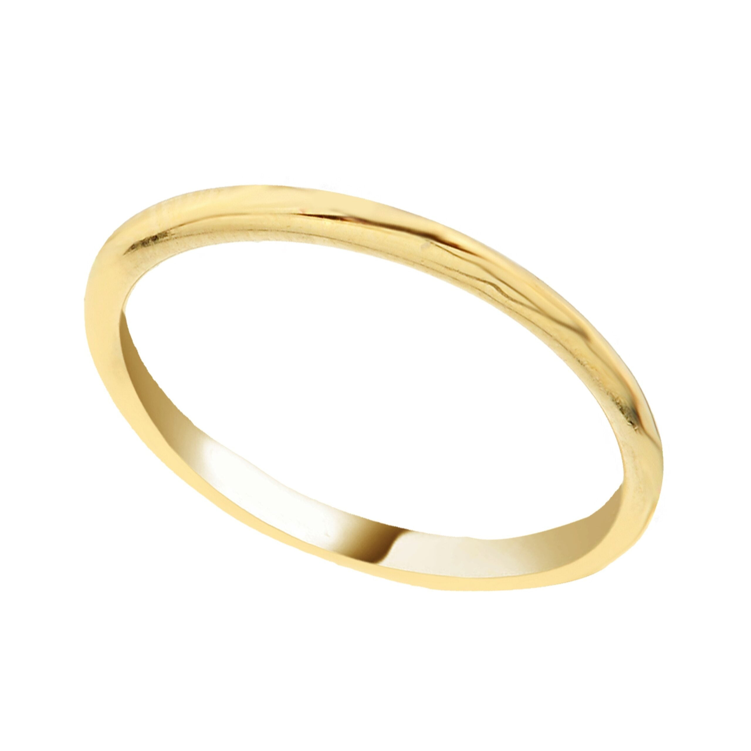 14K Real Yellow Solid Gold Thin Plain Band Polished Ring Simple Finger Stacking Knuckle For Women Christmas Gift Birthday Xmas Wedding her mother girl