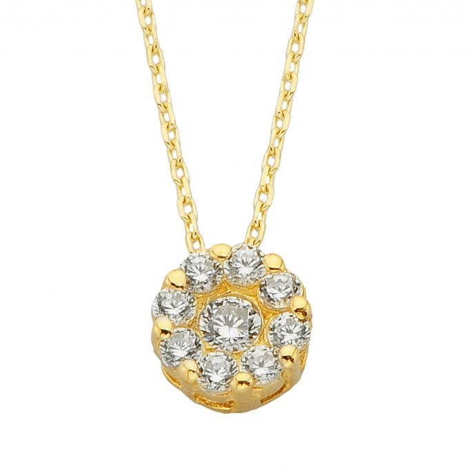 14K Solid Gold Round Solitaire Pendant Halo Necklace | Gold Necklace for Women | Birthday Christmas Gift …