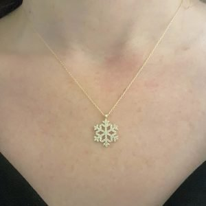 14K Solid Gold Snowflake Pendant Necklace for Women Necklace Charm dainty birthday gift