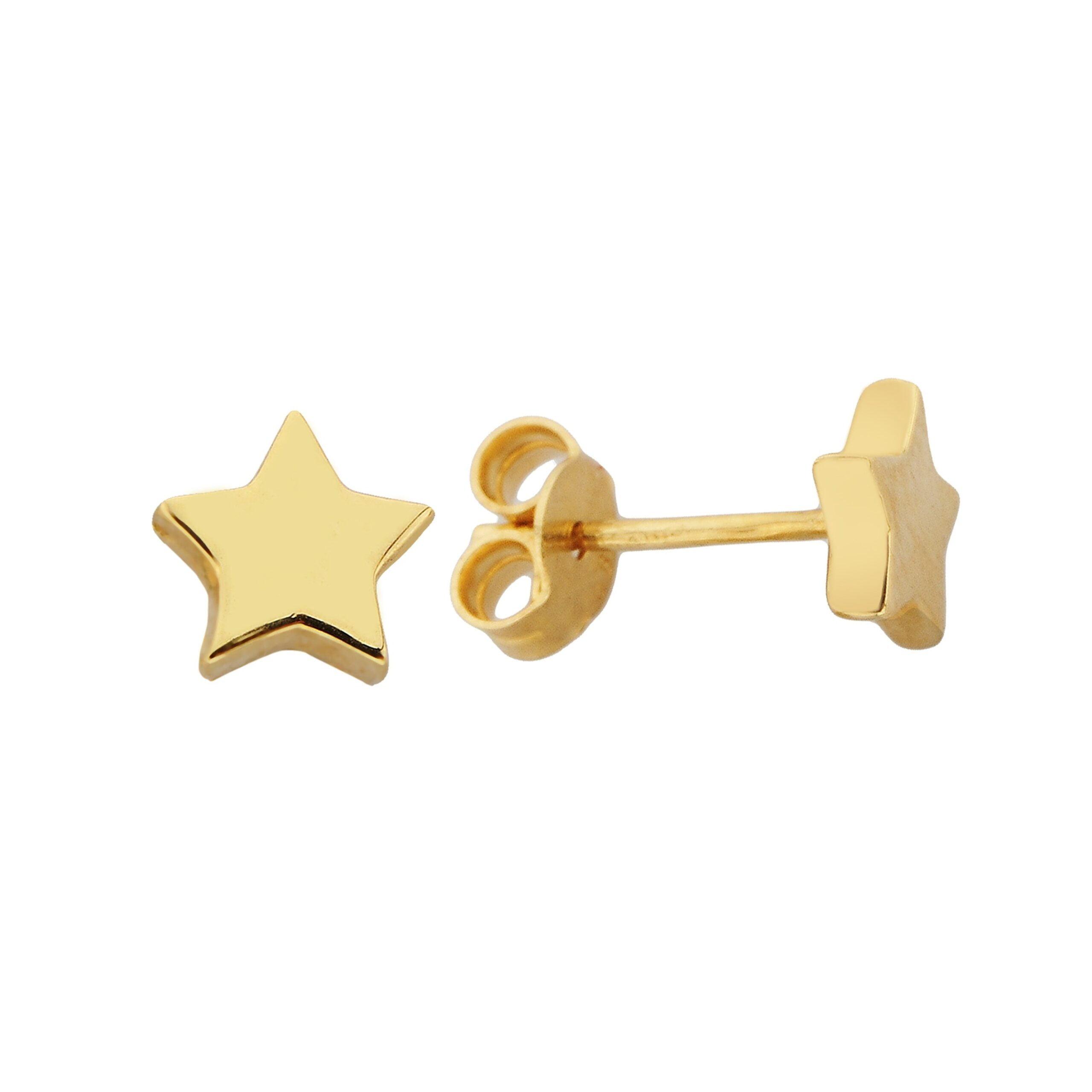 14K Solid Gold Star Stud Earrings for Women, Earrings Shaped desgin Best Birthday Gift christmas handmade jewelry