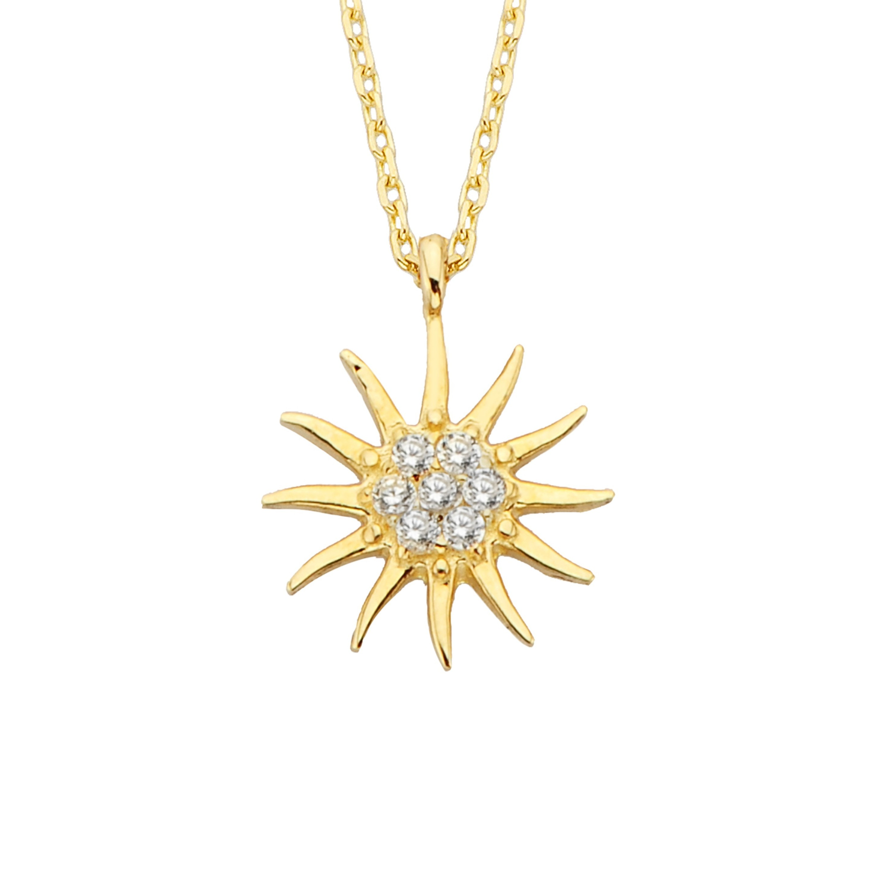 14K Solid Gold Sun Pendant Necklace for Women | CZ Tiny Dainty Charm Trendy jewelry | The best way to say You are my sun shine for her girlfriend mom Birtdhay