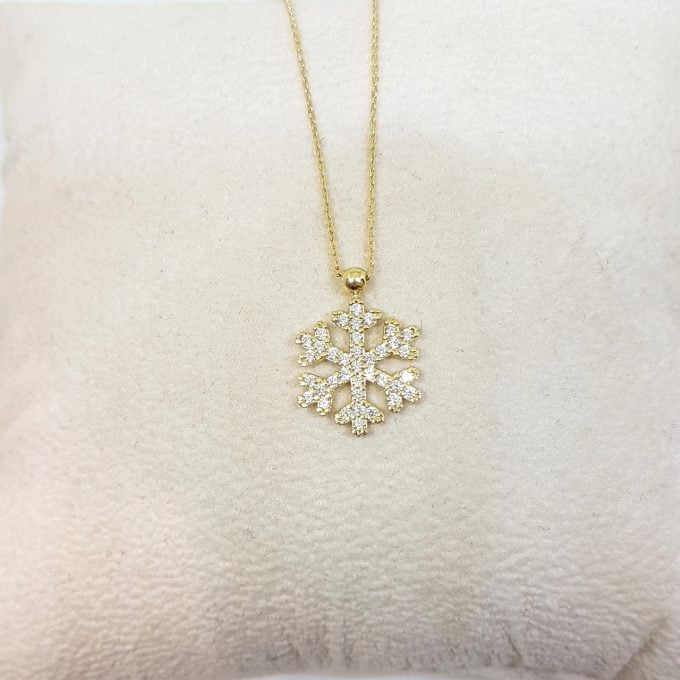 14K Real Solid Gold Snowflake Design with Zirconia Stones Cute Dainty Charm Elegant Delicate Trendy Pendant Necklace Best Birthday Gift for Women Jewelry Girlfriend Wife Mother