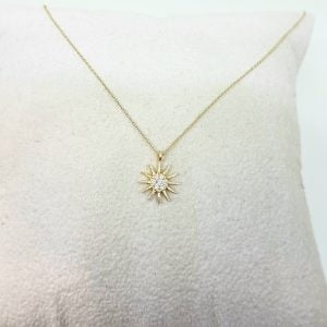 14K Gold Sun Shaped Decorated with Zirconia Stones Tiny Dainty Delicate Charm Trendy Pendant Necklace The best way to say You are my sun shine for women