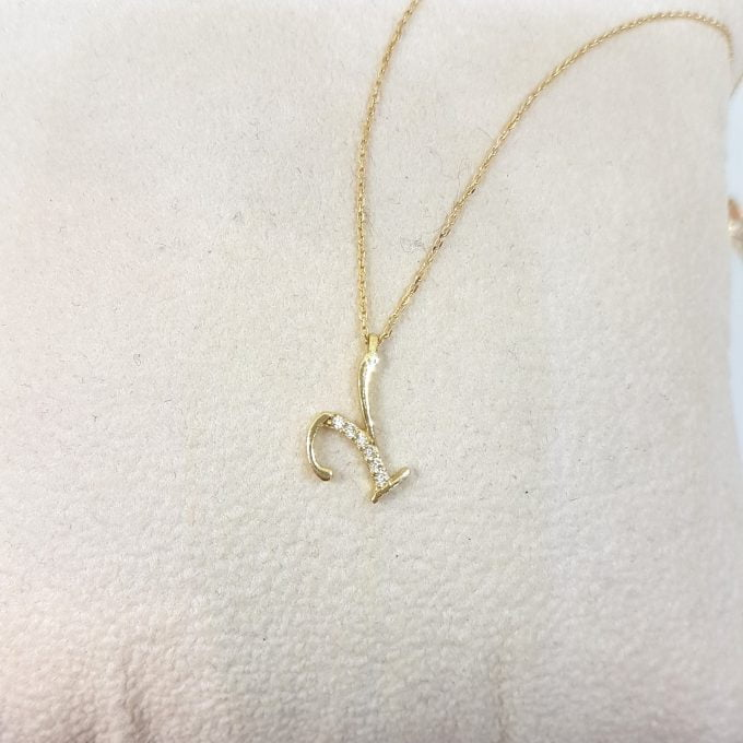 14K Real Solid Gold Initial Alphabet Letter Shaped Decorated With Zirconia Stones Charm Dainty Delicate Cute Trendy Pendant Necklace Best Birthday Gift for Women Jewelry