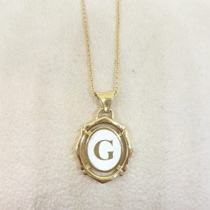14K Real Solid Gold Initial Alphabet Letter Shaped Charm Dainty Delicate Elegant Trendy Pendant Necklace (A-Z) for women jewelry girlfriend mom best birthday gift