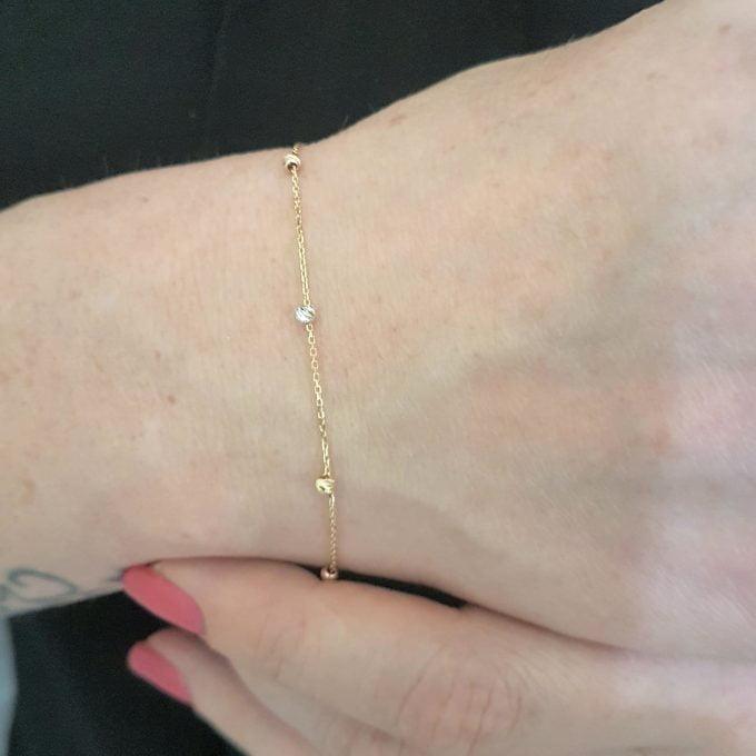 Single Row Chain Bracelet Beaded Italian Balls Charm Initial Dainty Delicate Trendy Tiny Cute best birthday gift Women Jewelry girlfriend 14K Real Solid Gold