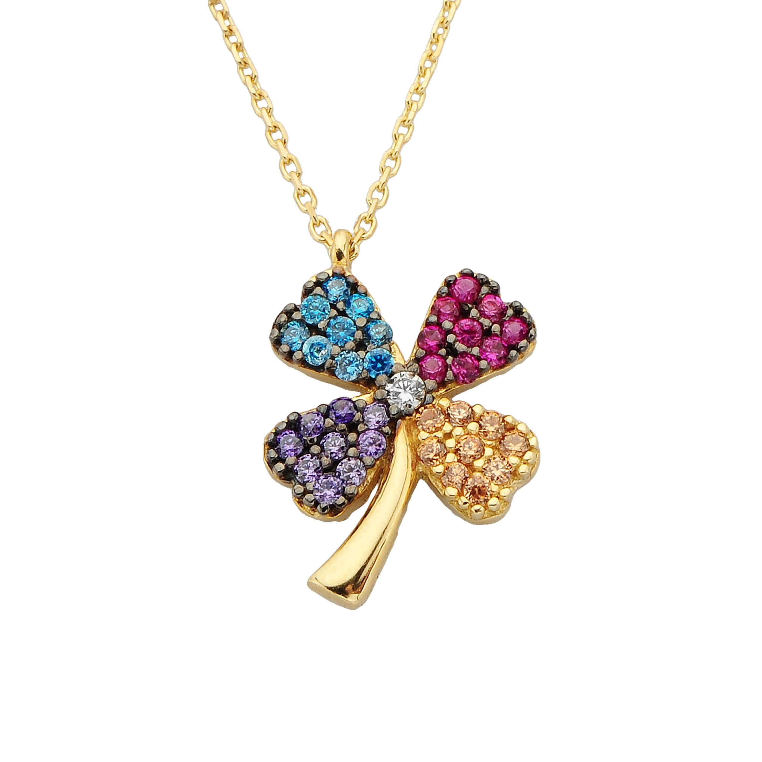 14k Real Solid Gold Four Leaf Clover Chain Necklace for Good Luck with Colorful Cubic Zirconia Best Friend Necklaces Birthday