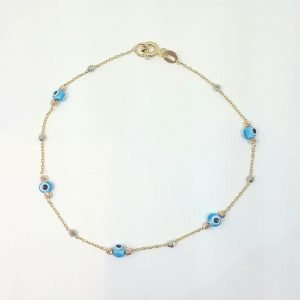 14K Real Solid Gold Lucky Blue Evil Eye and Italian Balls Design Tiny Cute Dainty Delicate Elegant Trendy Bracelet best gift for Women Jewelry yourself, birthday Nazar