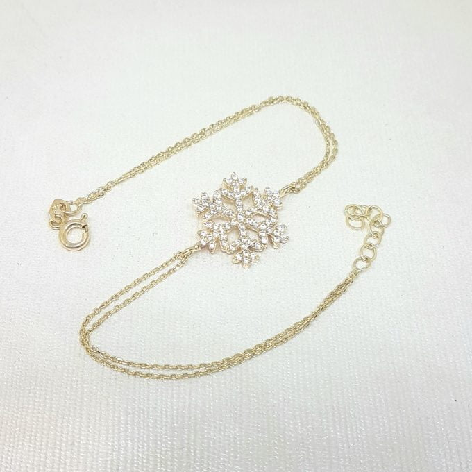 14K Real Solid Gold Snowflake Design with White Zirconia Stones Cute Elegant Dainty Charm Delicate Trendy Bracelet Best Birthday Gift for Women Jewelry