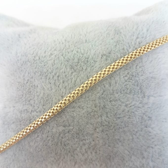 14K Gold Herringbone Chain Link Bracelet Charm Dainty for Women (3 mm X 1.40 mm)