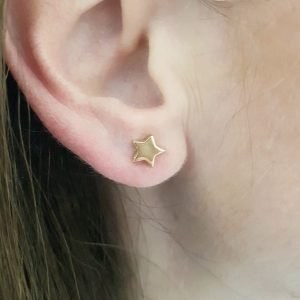 14K Real Solid Gold Star Stud Earrings for Women