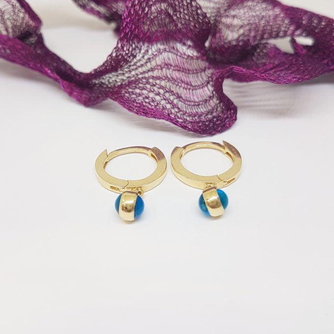 14K Gold Two Sided Evil Eye Drop Dangle Earrings for Women